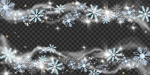 Natale neve vento illustrazione vettoriale inverno fiocco di neve blizzard cornice natale gelo scintilla confine