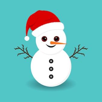 Pupazzo di neve di natale con occhi carini e naso di carota. pupazzo di neve su sfondo blu. elementi di natale. simpatico pupazzo di neve natalizio con rami di albero, bottoni, cappello invernale e faccina sorridente.