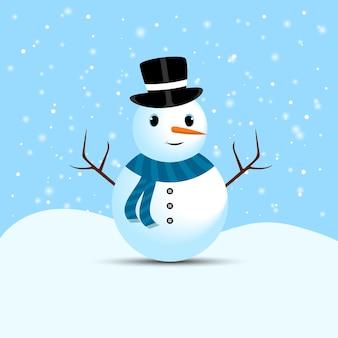 Pupazzo di neve di natale con occhi carini e un cappello da mago. un simpatico pupazzo di neve su uno sfondo di neve che cade. pupazzo di neve natalizio con rami di albero, bottoni, naso di carota, sciarpa al collo e faccina sorridente.