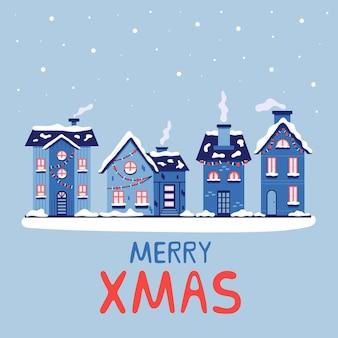 Natale case innevate con camini buon natale. biglietto di auguri per il nuovo anno. illustrazione vettoriale in sfumature di blu