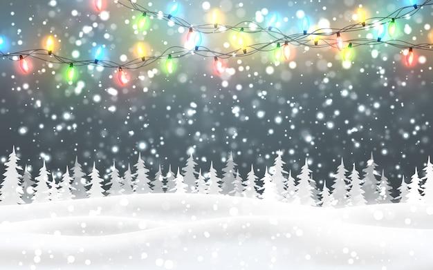 Natale, paesaggio boschivo notturno innevato con neve che cade