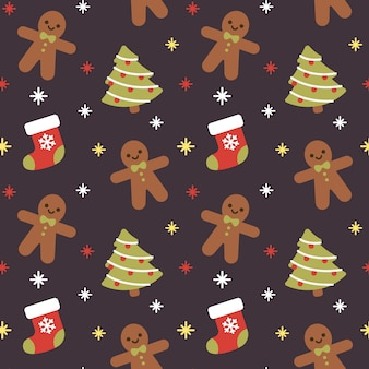 Fondo senza cuciture del modello di natale sock e gingerbread
