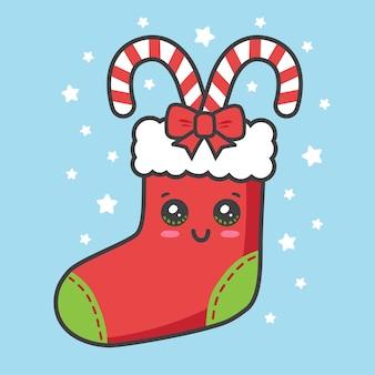 Calza natalizia con canna canday