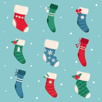 Collezione di calzini natalizi. buon natale