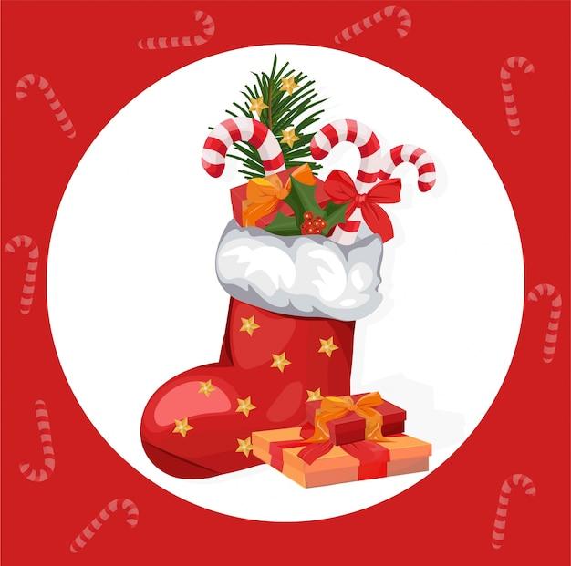 Calze di natale buone vacanze icona rossa santa calzino e presente