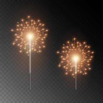 Sparkler di natale. bellissimo effetto di luce con stelle e scintille. fuochi d'artificio luminosi festivi. luci realistiche isolate su sfondo trasparente.