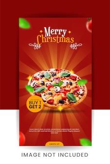 Natale speciale sconto alimentare social media story template design Vettore Premium