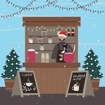Bancarelle di natale. uomo che vende caffè e vin brulé al chiosco. illustrazione di vettore.