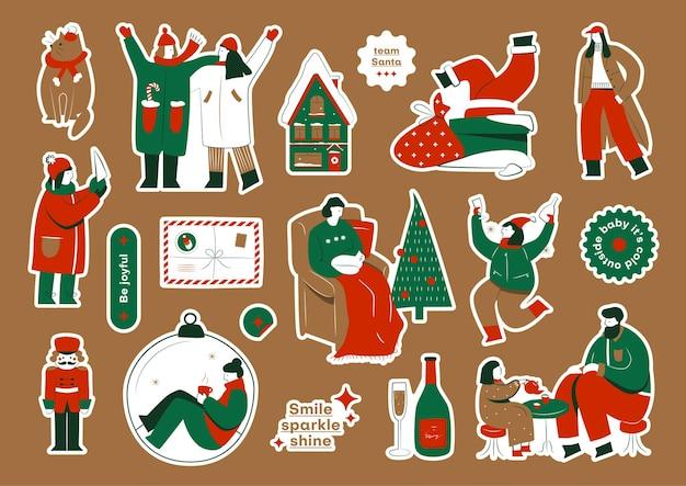 Pacchetto di adesivi natalizi con illustrazioni colorate di celebrazioni natalizie e citazioni