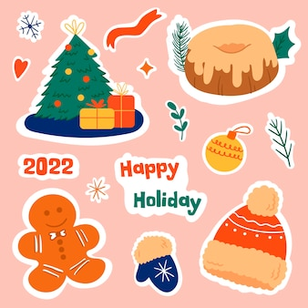 Set di adesivi natalizi. elementi di natale e capodanno. illustrazione vettoriale