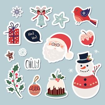 Collezione di adesivi natalizi con simpatici elementi stagionali