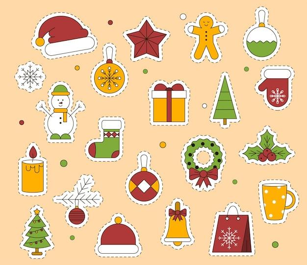Adesivi natalizi o set di icone
