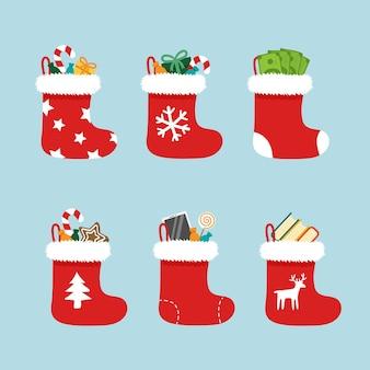 Calze natalizie bianche e rosse. calzini invernali di babbo natale natalizio per regali
