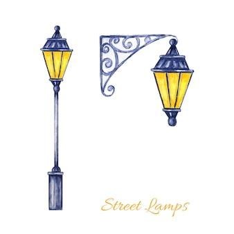 Set di lampioni natalizi. lampada a luce brillante in metallo vintage illustrazione dell'acquerello