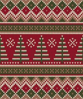 Maglione di natale. seamless knitting pattern. sfondo di vacanza invernale