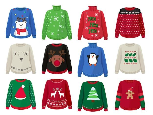 Maglioni natalizi. vestiti brutti divertenti con cartoni animati di decorazioni natalizie