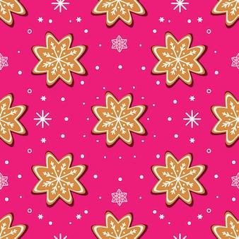 Dolci natalizi biscotti di panpepato e fiocchi di neve bianchi