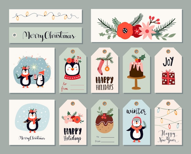Etichette natalizie, etichette, biglietti di auguri con simpatici pinguini ed elementi stagionali invernali