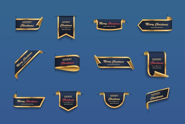 Set di etichette natalizie rotoli e striscioni dorati blu isolati