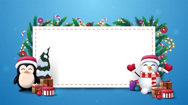 Modello di natale con grande foglio di carta bianco decorato con rami di albero di natale, bastoncini di zucchero e ghirlande con pinguino e pupazzi di neve con regali