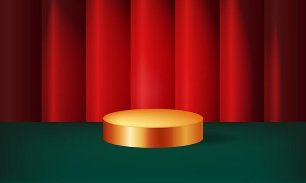 Layout del podio di visualizzazione a tema natalizio fase dorata sfondo tenda realistico