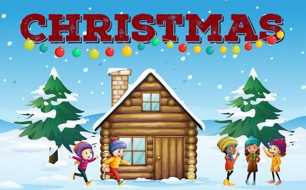 Tema natalizio con bambini e capanna