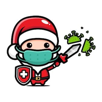Fumetto di chibi a tema natalizio Vettore Premium