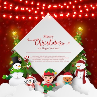 Cartolina a tema natalizio di pupazzo di neve e amici