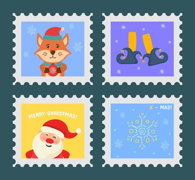 Set di francobolli a tema natalizio
