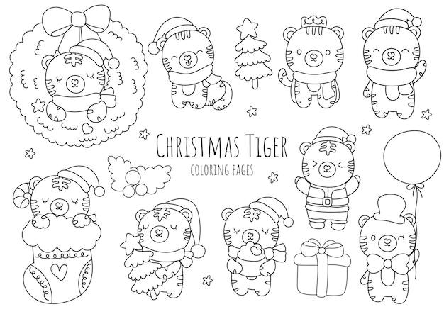 Disegni da colorare, contorni e scarabocchi della tigre di natale