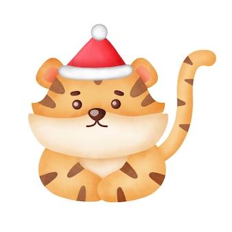 Tigre di natale con elementi natalizi in stile acquerello.
