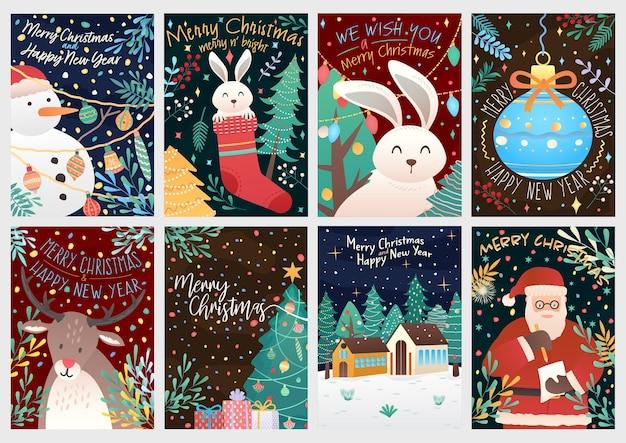 Tempo di natale fumetto illustrazione biglietti di auguri sfondi modello grande raccolta set con cervo pupazzo di neve coniglio santa e elementi di natale