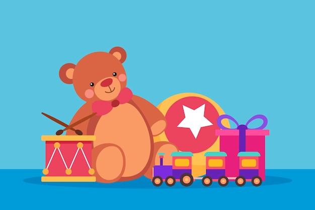 Sfondo di giocattoli di natale in design piatto