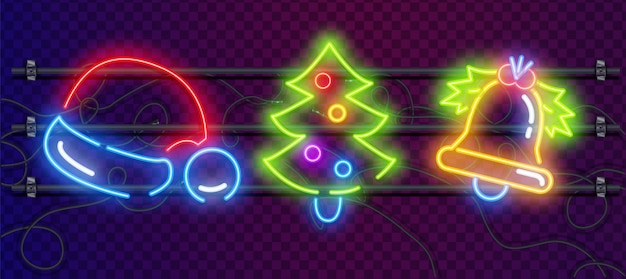 Insegne al neon colorate di giocattoli e decorazioni di natale