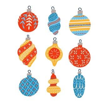 Giocattoli natalizi nella collezione in stile scandinavo set di palline di natale disegnate a mano decorazioni natalizie...