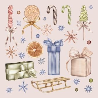 Giocattoli di natale con dolci, caramelle e regali