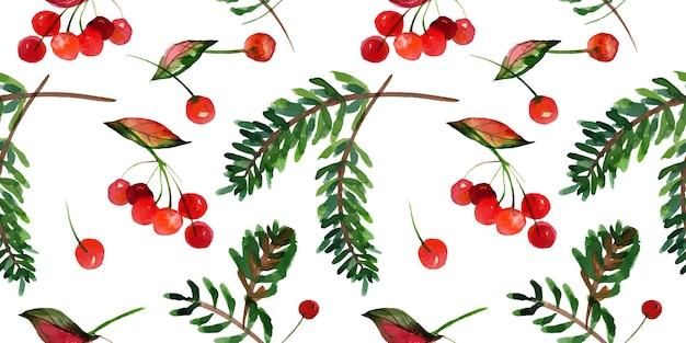 Natale tracciato acquerello motivo floreale senza soluzione di continuità ale rami e bacche invernali