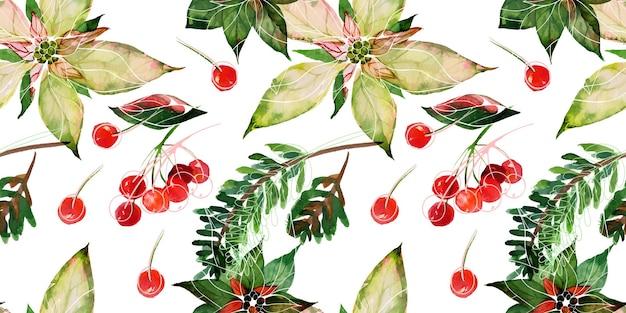 Natale tracciato acquerello floreale motivo senza cuciture poinsettia rami di abete e bacche rosse