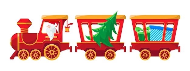 Trenino di natale con regali e albero babbo natale porta regali disegno vettoriale