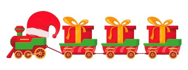 Trenino di natale con cappello di babbo natale carri rossi con regali