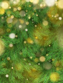Decorazioni del fondo dell'albero di natale con luce vaga, scintillante, d'ardore. modello di felice anno nuovo.