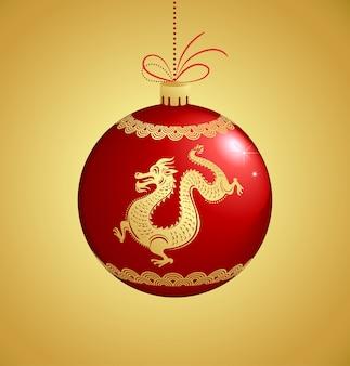 Sfera dell'albero di natale con il drago dorato - priorità bassa cinese di nuovo anno Vettore Premium