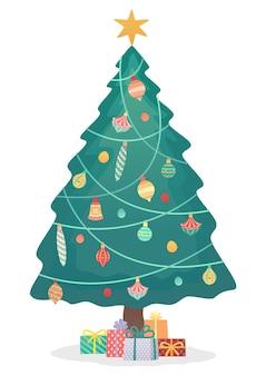 Albero di natale e scatole simpatici elementi natalizi festivi