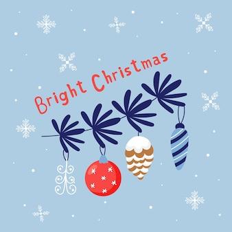 Ramo di albero di natale con decorazioni natalizie. elementi carini per le vacanze. biglietto di auguri di capodanno natale luminoso