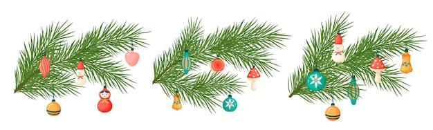 Ramo di albero di natale con i giocattoli. illustrazione di natale. decorazioni natalizie in stile cartone animato.