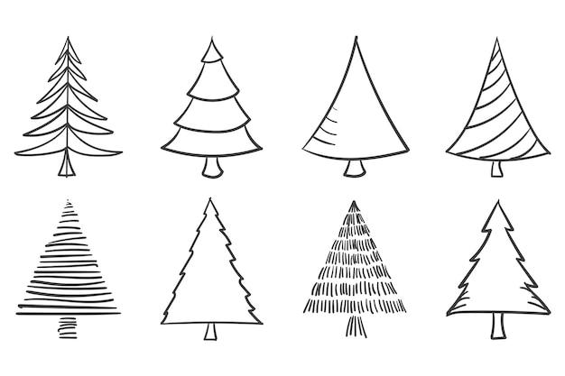 Collezione di alberi di natale con disegno di contorno