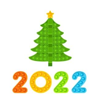 Albero di natale e numeri colorati 2022 anno nuovo giocattolo antistress illustrazione vettoriale