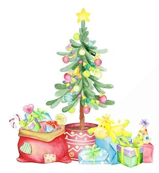 Albero di natale decorato con giocattoli e ghirlande, regali e dolci. acquerello, concetto di natale.