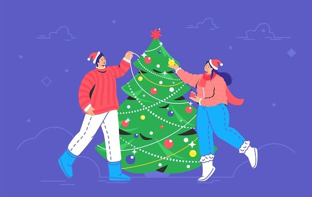Decorazione dell'albero di natale. il simbolo di vettore piatto della coppia sorridente che indossa i cappelli rossi della santa sta decorando l'albero di natale per celebrare il buon natale e il felice anno nuovo all'aperto. preparazione per la festa di natale
