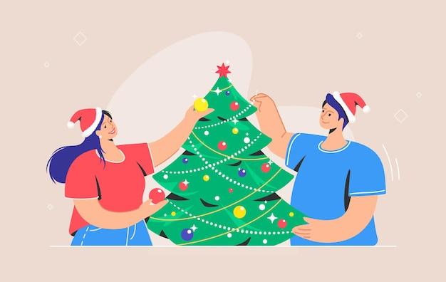 Decorazione dell'albero di natale. simbolo di vettore piatto di coppia sorridente che indossa cappelli rossi santa stanno decorando l'albero di natale per celebrare insieme buon natale e felice anno nuovo. preparazione per la festa di natale
